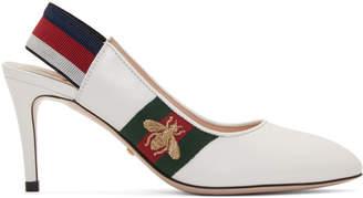 Gucci White Sylvie Elastic Heels