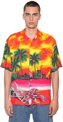 MSGM Floral Print Viscose Shirt