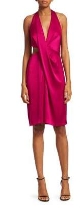 Halston Cut-Out Satin Halter Sheath Dress