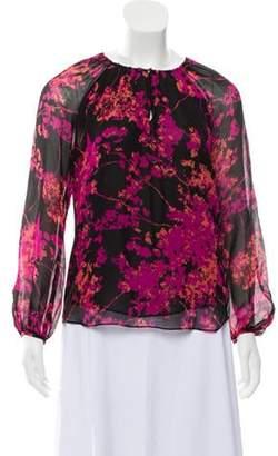Diane von Furstenberg Silk Long Sleeve Top Black Silk Long Sleeve Top