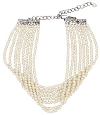 Kenneth Jay Lane 8 Row Silver And Crystal Choker Necklace
