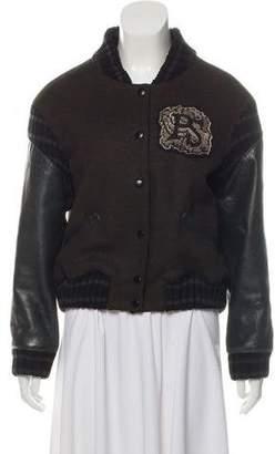Proenza Schouler Wool Leather Varsity Bomber