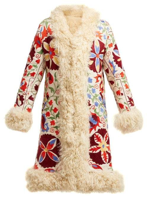 Zazi Vintage - Suzani Embroidered Shearling Coat - Womens - 231 White Multi