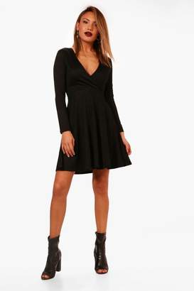 boohoo Molly Wrap Over Skater Dress