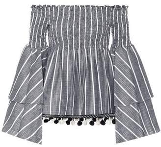 Caroline Constas Wave linen and cotton top