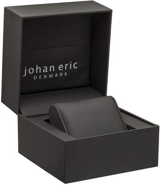 Johan Eric Orstead Quartz Swarovski Crystal Raspberry Leather Strap Watch