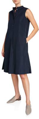 Aspesi Sleeveless Cotton Poplin Dress with Band-Collar
