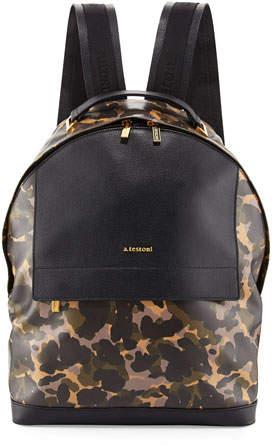 A. Testonia.testoni Camouflage Leather Backpack, Camo/Black