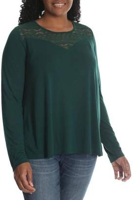 Lee Riders Women's Plus Long Sleeve Knit Top with Lace Yoke
