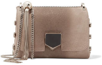 Jimmy Choo Lockett Mini Glittered Suede Shoulder Bag - Beige
