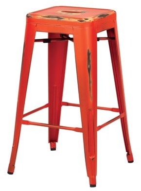 """Office Star OSP Designs by Products Bristow 26"""" Antique Metal Barstools, Antique Orange, 2-Pack"""