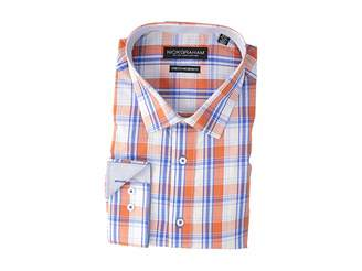 Nick Graham Yarn-Dye Plaid Stretch Shirt