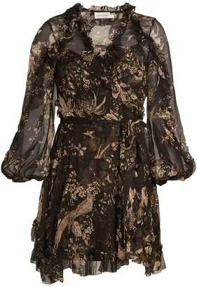 ZIMMERMANN Maples Feathery floral-print silk wrap dress $895 thestylecure.com
