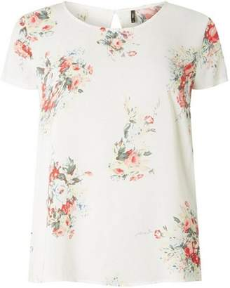 Only Womens **Only White Floral Scoop Neck Top