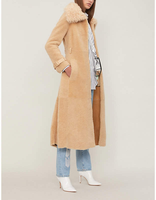 Belted shearling trench coat