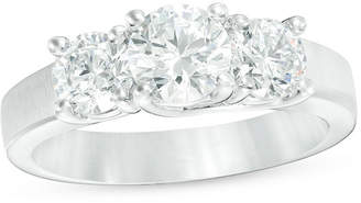 Zales 1-3/4 CT. T.W. Diamond Three Stone Satin-Finish Engagement Ring in 14K White Gold