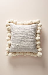 Anthropologie Pompom Jute Accent Pillow