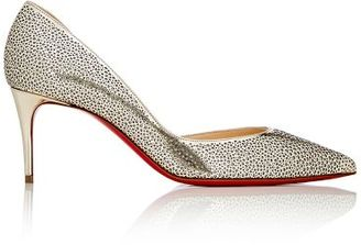 "Christian Louboutin Women's ""Galupump"" Half D'Orsay Pumps-GOLD $895 thestylecure.com"