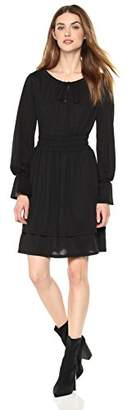 Painted Heart Women's Long-Sleeve Crinkle Knit Dress with Shirring Accents
