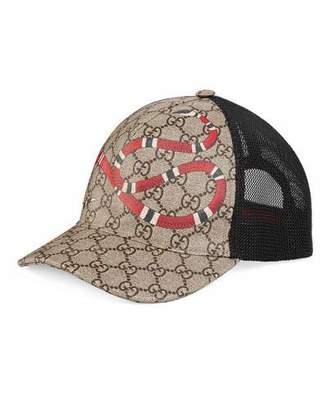 Gucci Snake-Print GG Supreme Baseball Hat, Brown