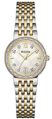 Bulova Ladies Women's Designer Diamond Watch Bracelet - Two Tone Steel Gold Mother Of Pearl Wrist Watch 98W211