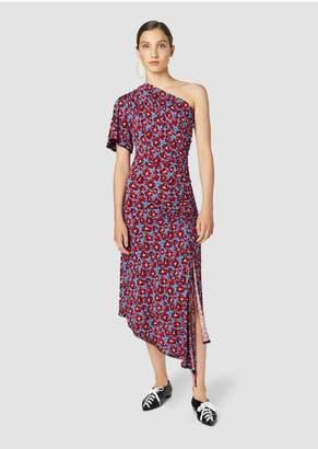 Derek Lam 10 Crosby Asymmetrical One Shoulder Printed Floral Jersey Dress