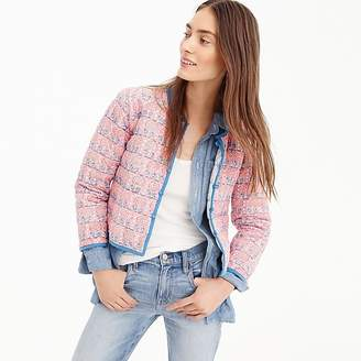 J.Crew SZ BlockprintsTM for reversible quilted jacket in lilac pineapple