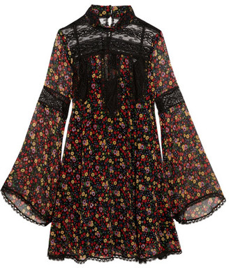 Anna Sui - Lace-paneled Printed Silk-georgette Mini Dress - Black