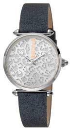 Just Cavalli 32mm Animal Glitter Watch w/ Leather Strap, Black/Steel
