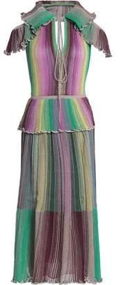 M Missoni Cutout Ruffled Metallic Striped Crochet-knit Midi Dress