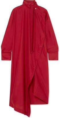 Valentino Asymmetric Silk Crepe De Chine Tunic - Red