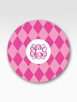 Preppy Plates Personalized Set of 4 Argyle Plates
