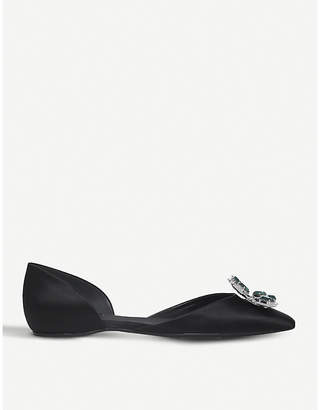 Roger Vivier Crown Jewels d'Orsay silk-satin flats