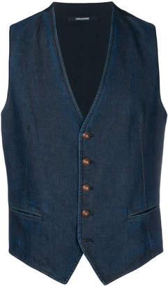 Tagliatore fitted denim waistcoat