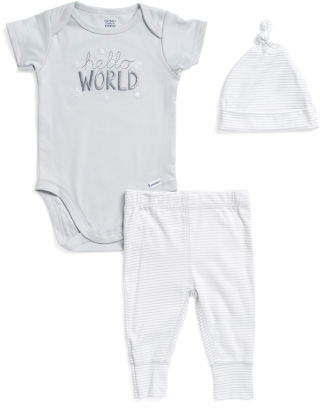Newborn Boys Hello World 3pc Onesie Pant & Cap