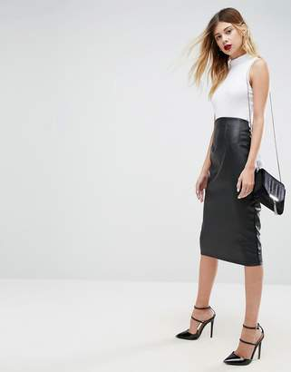 Asos DESIGN Sculpt Me Leather Look High Waist Pencil Skirt