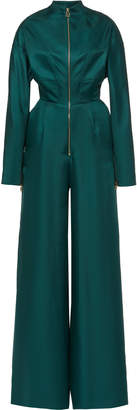 Brandon Maxwell Zip Detail Long Sleeve Silk Jumpsuit