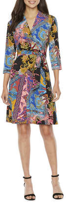 Chetta B BE BY Be by 3/4 Sleeve Paisley Wrap Dress