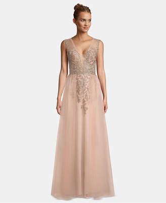 Xscape Evenings Sparkle Embroidered Mesh Gown