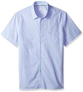 Lacoste Men's Short Sleeve Finely Striped-Poplin Slim Woven Shirt