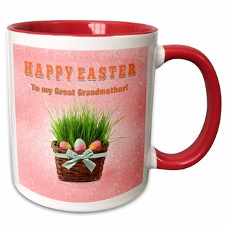 3dRose Three Easter Eggs in Basket of Grass, Happy Easter Great Grandmother - Two Tone Red Mug, 11-ounce