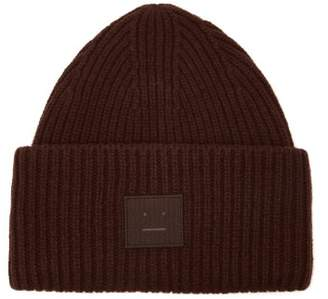 Acne Studios Pansy S Face Ribbed Knit Beanie Hat - Mens - Brown