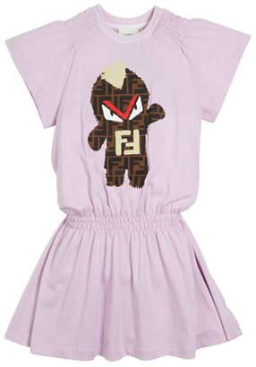 Fendi FF Monster Shirred Dress, Size 4-14