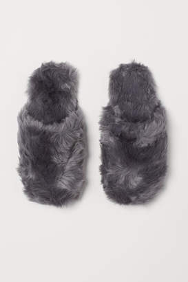 H&M Faux Fur Slippers - Gray