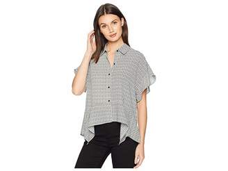 1 STATE 1.STATE Short Sleeve Fine Puppytooth High-Low Hem Blouse