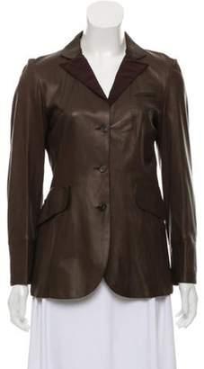 Brunello Cucinelli Leather Notch-Lapel Jacket Leather Notch-Lapel Jacket
