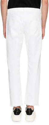 Alexander McQueen Distressed Straight Jeans with Contrast Backing, White/Black