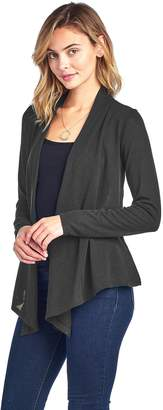 Hunter Hollywood Star Fashion Long Sleeves Knit Cardigan Flyaway Plain Basic (, Dark Mustard)