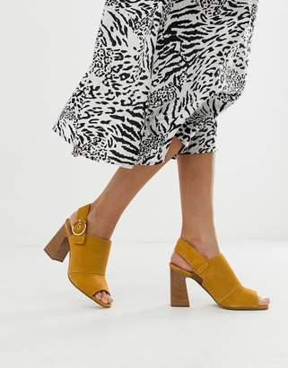 e553023cbe80 Aldo Elalyan buckle block heeled leather sandals in mustard