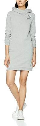 Bench Women's Hoody Dress Badge Winter Grey Marl Ma1054, Large